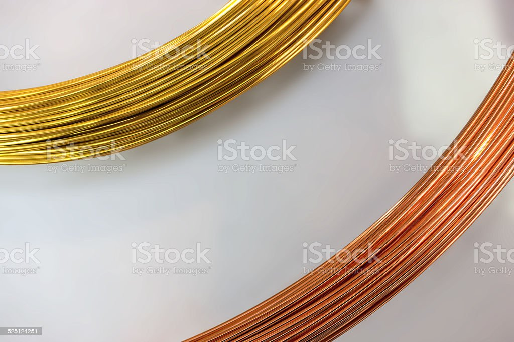 Brass wire and copper wire royalty-free stock photo