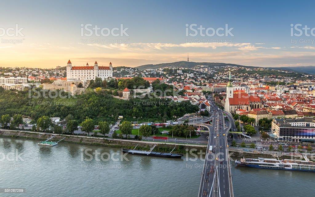 Bratislava at Sunset, Slovakia stock photo