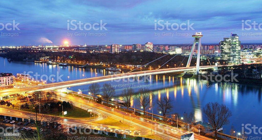 Bratislava bridge and Danube stock photo