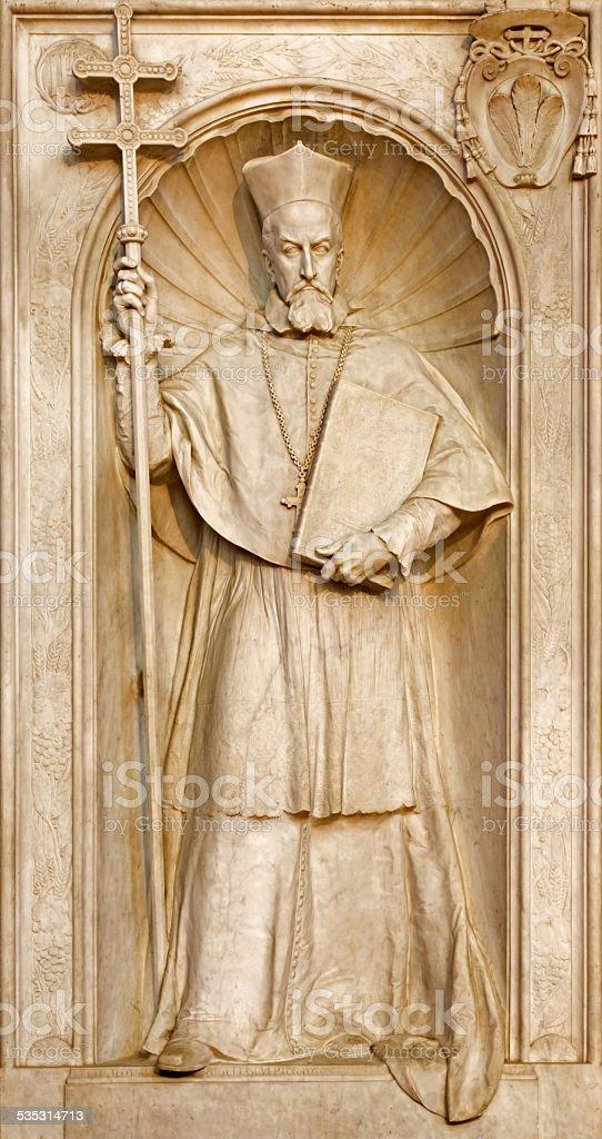 Bratislava - Cardinal Peter Pazman tomb stone stock photo