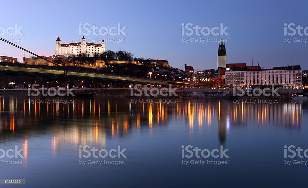 Bratislava castle and Embankment stock photo
