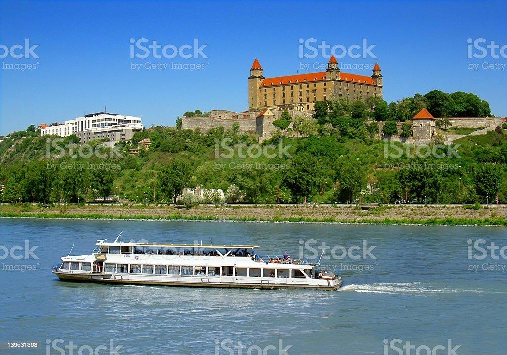 Bratislava castle and river stock photo