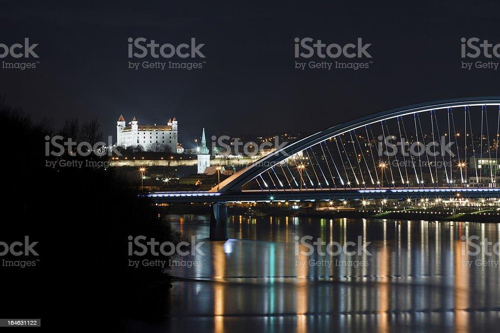 bratislava castle at night royalty-free stock photo