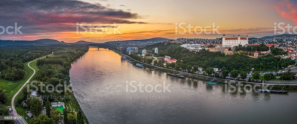 Bratislava Castle at Sunset stock photo