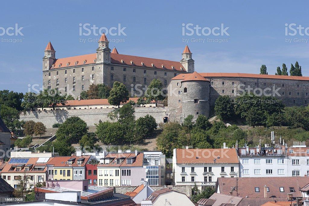 Bratislava Castle with New Houses stock photo