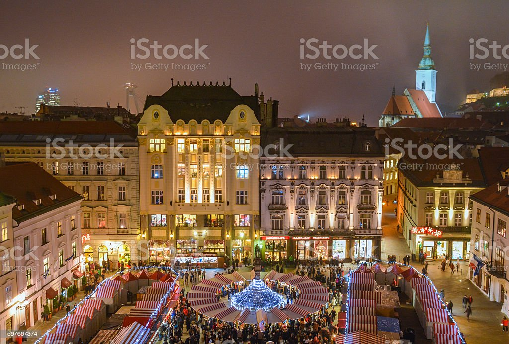 Bratislava Christmas market, Slovakia stock photo