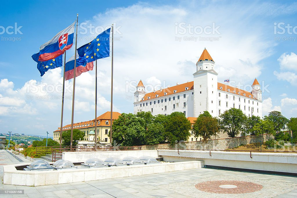 Bratislava city castle stock photo