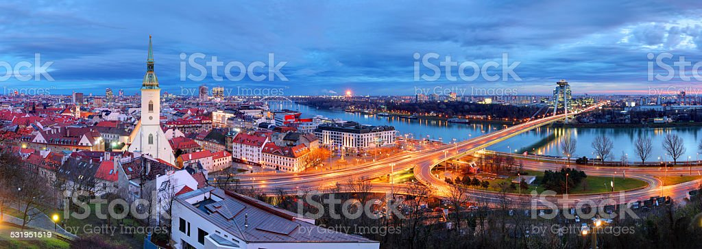 Bratislava cityscape at night, Slovakia stock photo