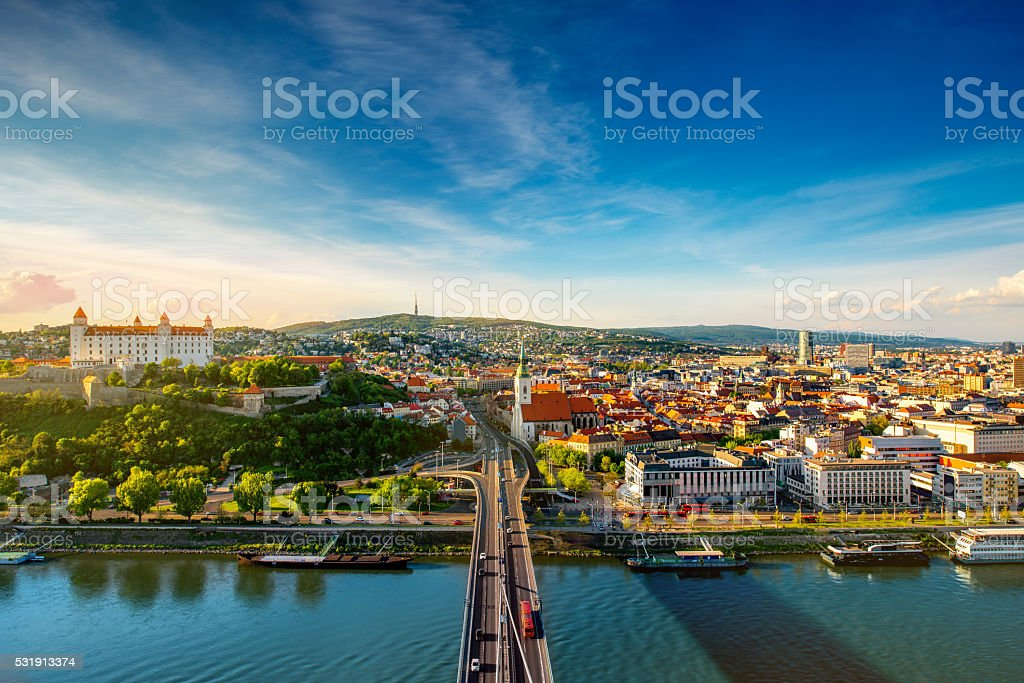 Bratislava cityscape view on the old town stock photo