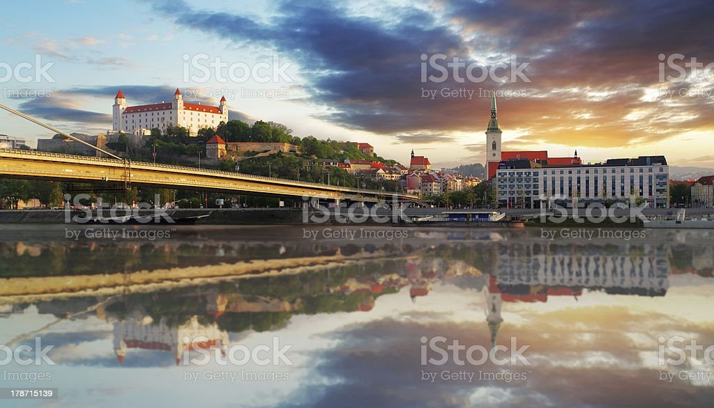 Bratislava embakment at sunrise - Slovakia stock photo