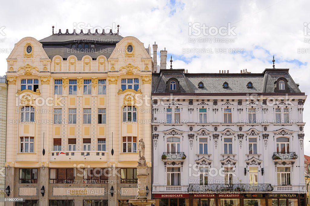 Bratislava main square palaces stock photo