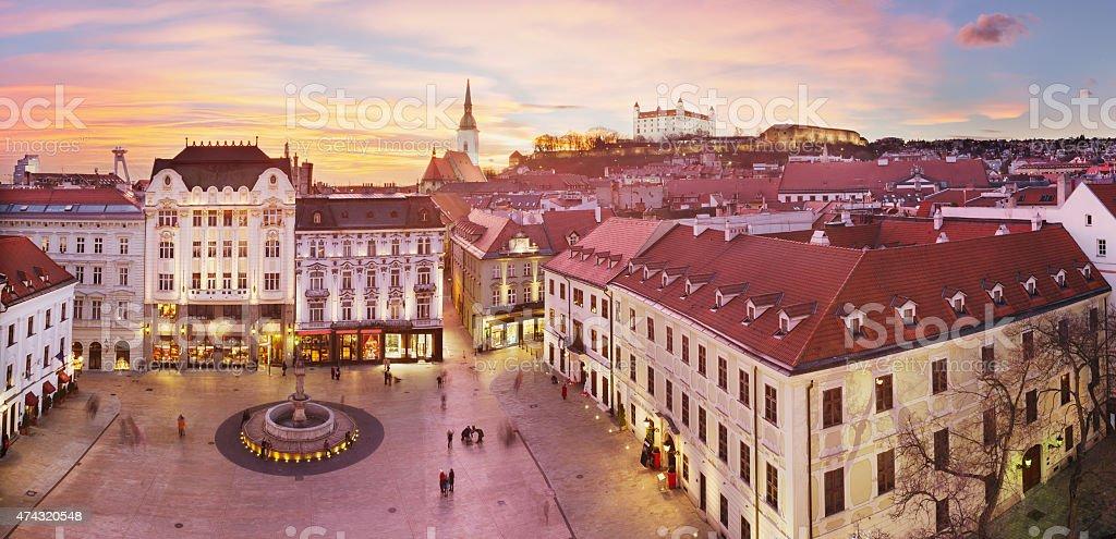 Bratislava Panorama - Main Square stock photo