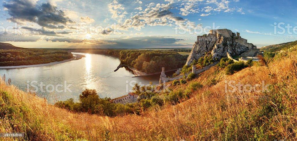 Bratislava, ruin of castle Devin, Slovakia stock photo