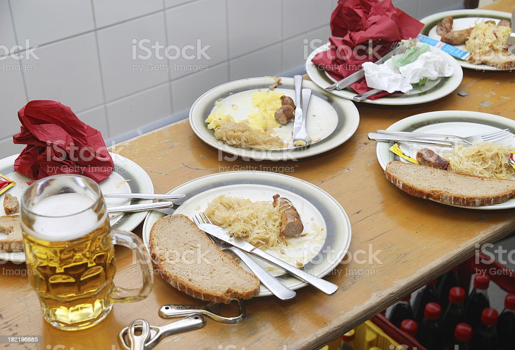 Bratwurst and beer after dinner royalty-free stock photo