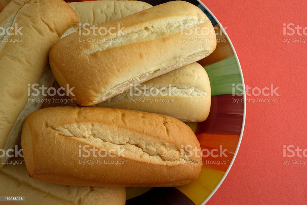 Bratwurst buns on plate close view stock photo