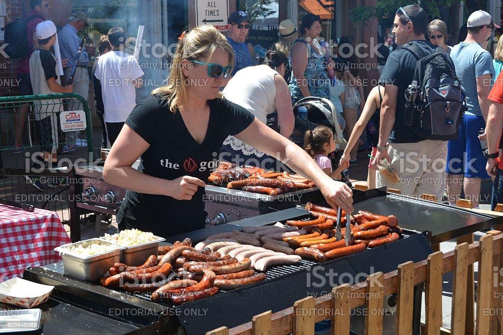 Bratwurst Cooker stock photo
