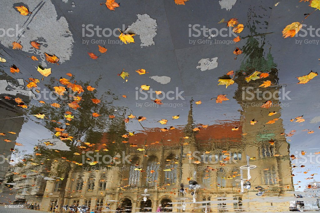 Braunschweig dom reflection on the pavement stock photo