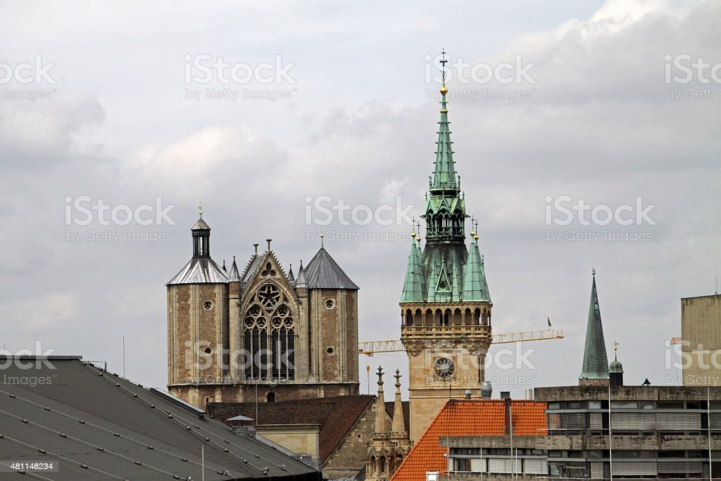 Braunschweiger towers (cathedral and city hall) stock photo