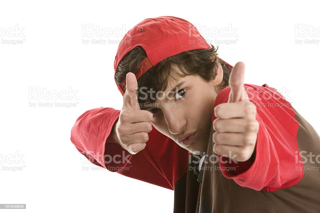 Brave boy showing thumbs up sign royalty-free stock photo