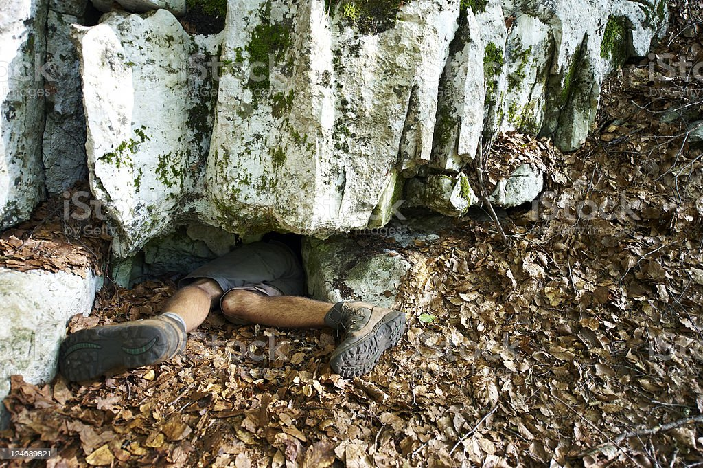 Brave Caver stock photo
