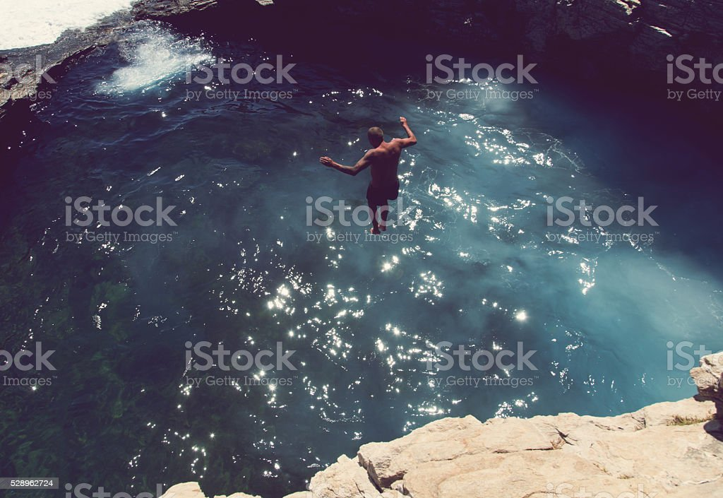 Brave Enough To Jump stock photo