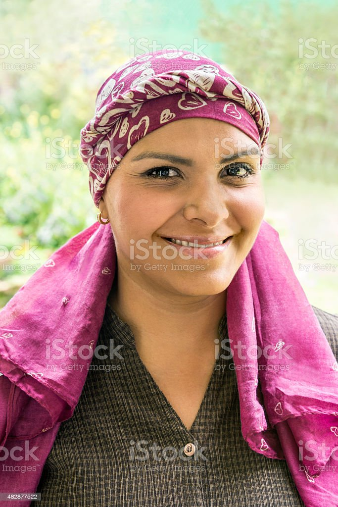 Brave Latin cancer patient stock photo