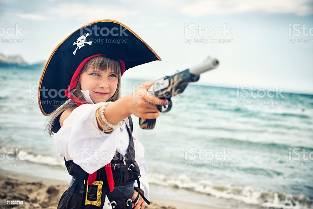 Brave little pirate captain girl royalty-free stock photo