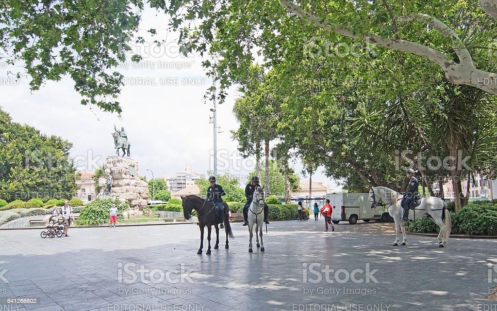 Brave men on horses stock photo