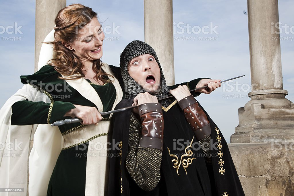 Brave princess, medieval action. royalty-free stock photo