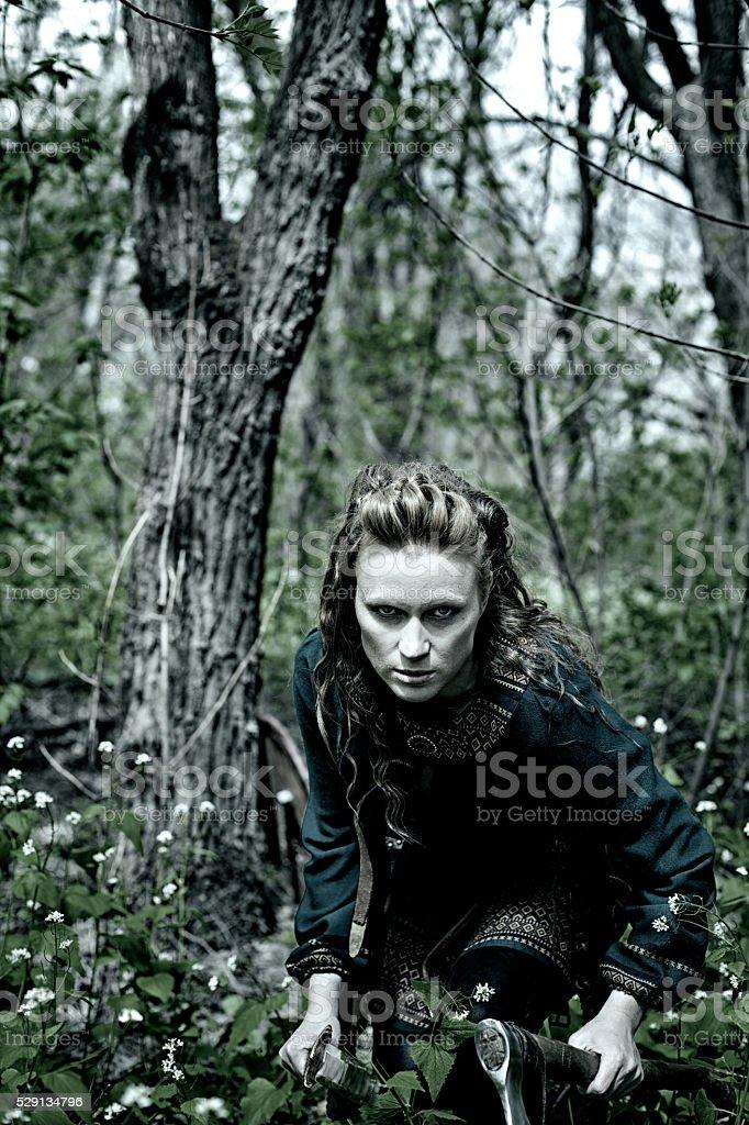 Brave scandinavian woman stock photo