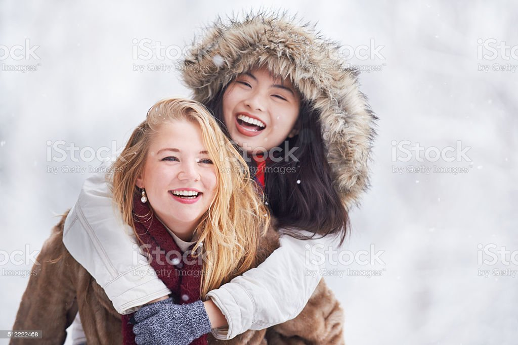 Braving the cold with my bestie stock photo