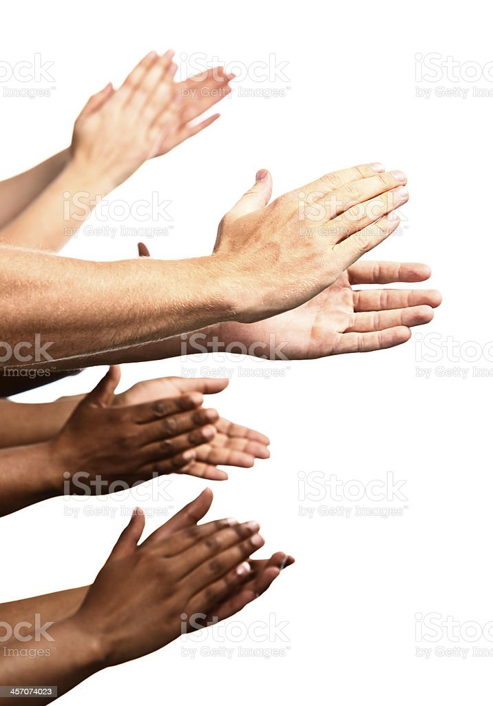 Bravo! Many mixed hands applaud enthusiastically on white stock photo