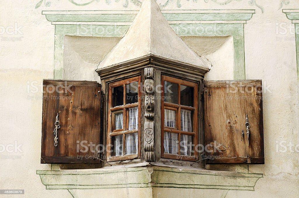Bravuogn (Bergun, Engadine, Graubunden, Switzerland): window of old house royalty-free stock photo