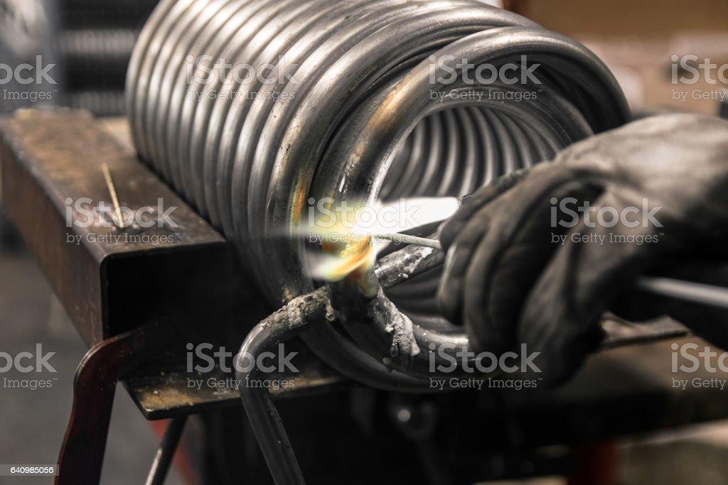 Braze welding process. stock photo