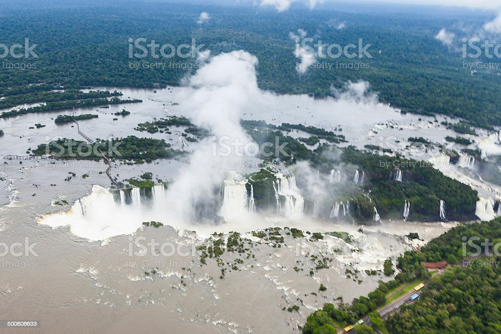 Brazil and Argentina - Aerial view of famous Iguacu Falls stock photo