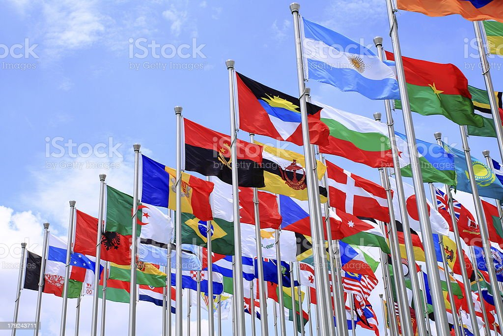 Brazil Argentina and world flags stock photo