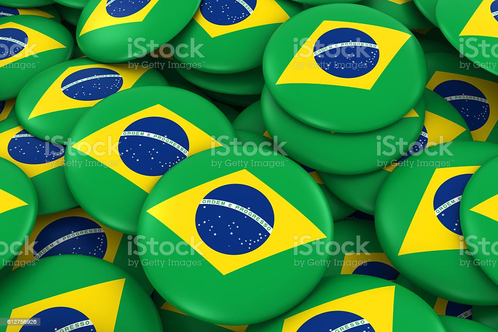 Brazil Badges Background - Pile of Brazilian Flag Buttons stock photo