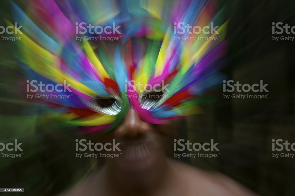 Brazil Carnaval Smiling Brazilian Man in Colorful Mask stock photo