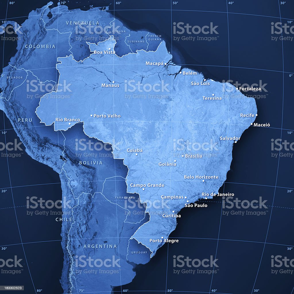Brazil Cities Topographic Map stock photo