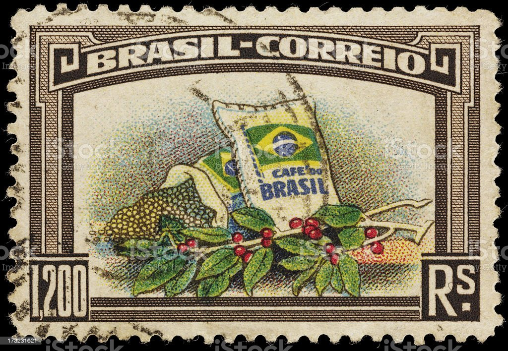 Brazil coffee beans and plant postage stamp stock photo