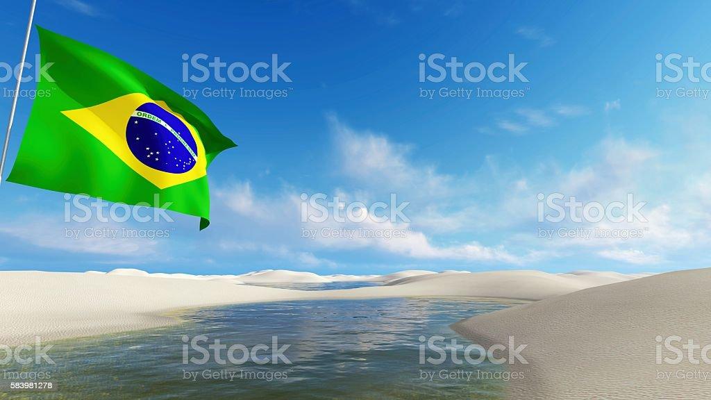 Brazil flag against dunes and lagoons stock photo