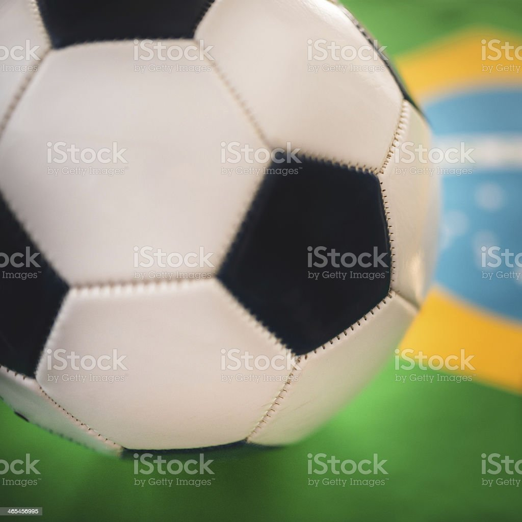 brazil flag background with soccer ball royalty-free stock photo