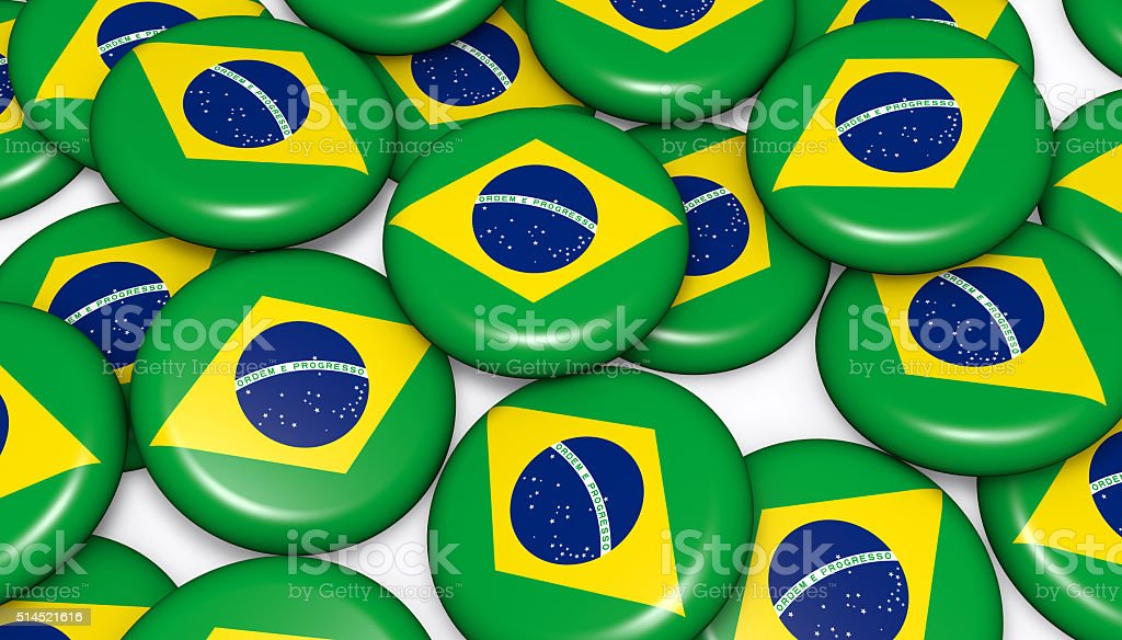 Brazil Flag Buttons Badges Background stock photo