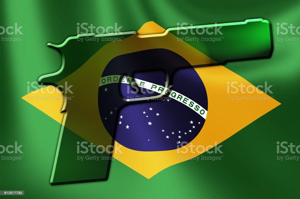 Brazil Flag Hand Gun stock photo