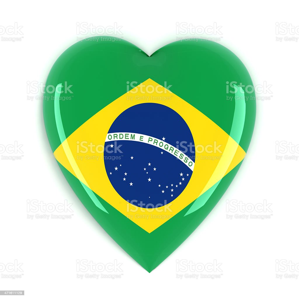Brazil Flag Heart royalty-free stock photo