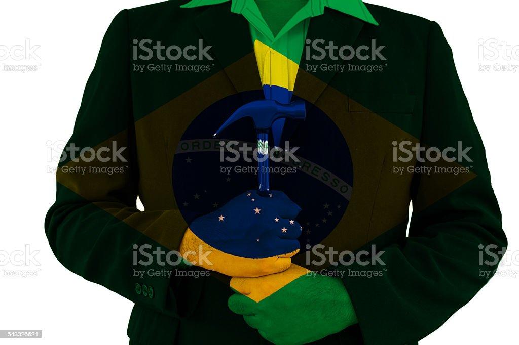 brazil flag on business man background stock photo