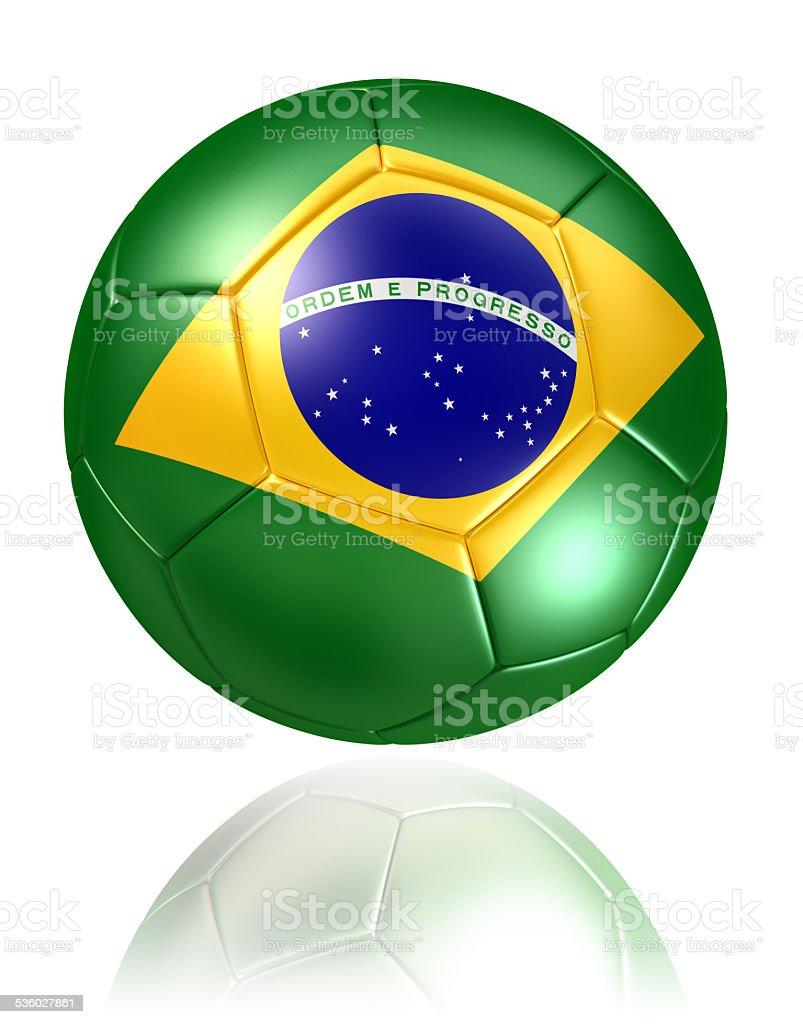brazil flag on soccer ball on white background stock photo