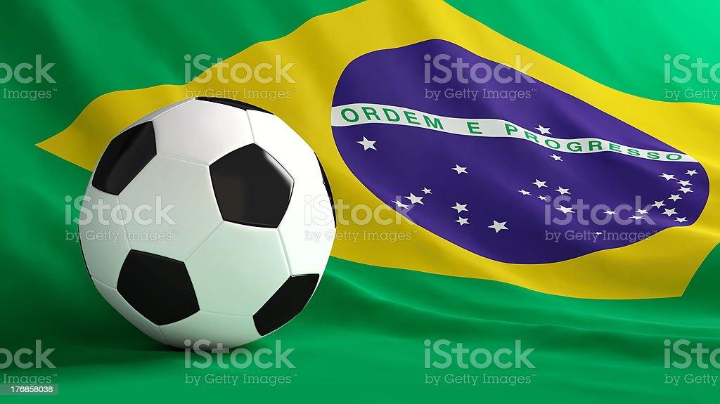 brazil flag soccer ball stock photo