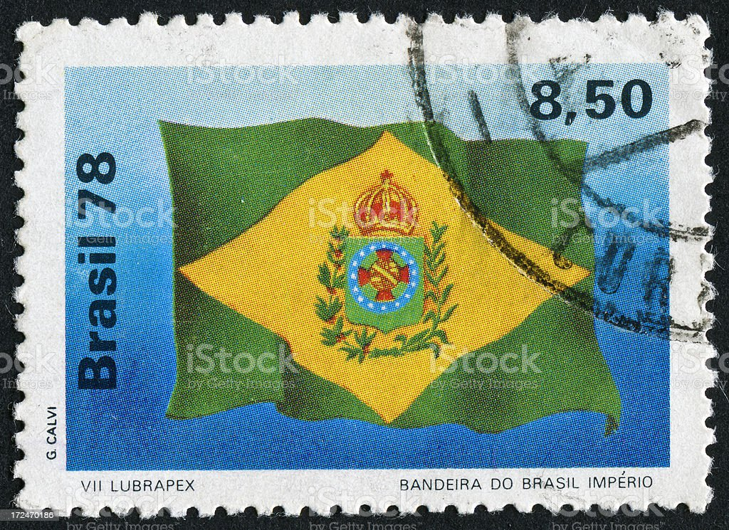 Brazil Flag Stamp royalty-free stock photo