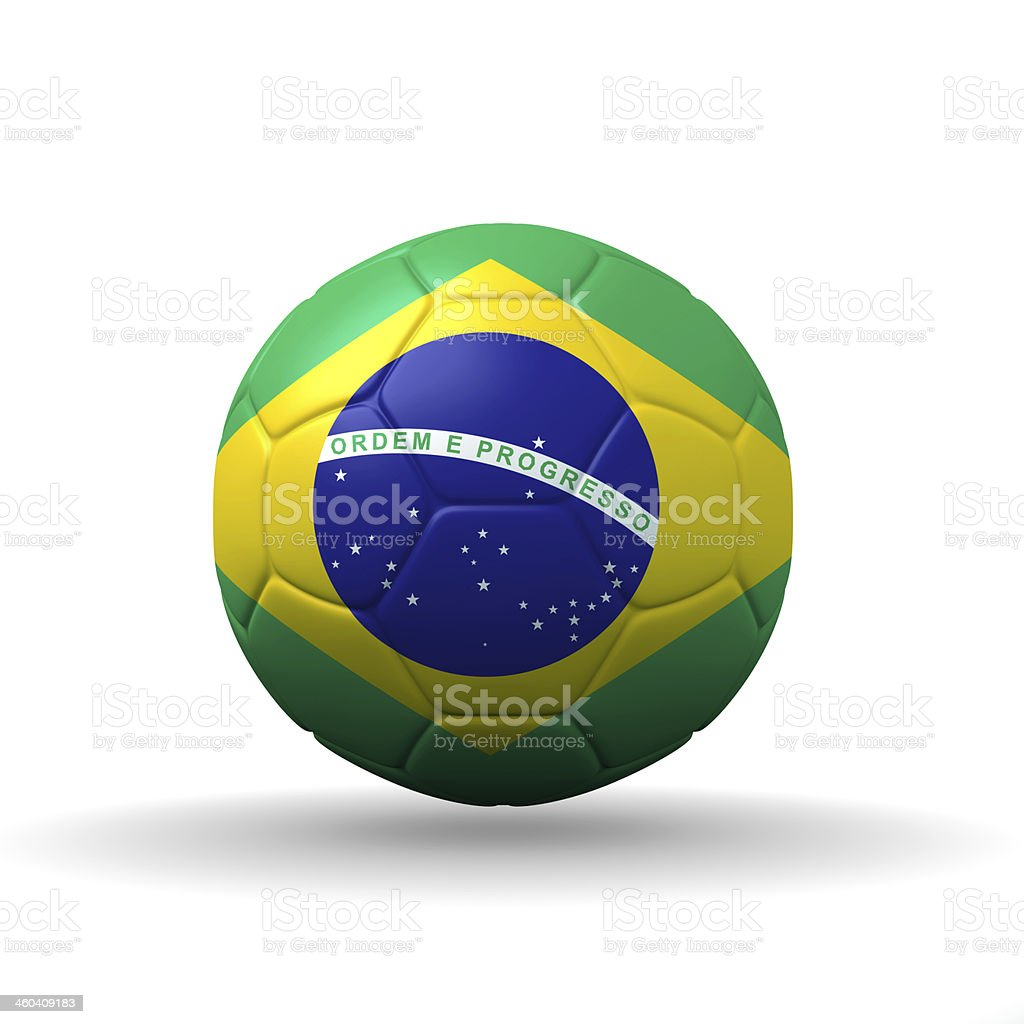 Brazil flag textured on soccer ball , clipping path included royalty-free stock photo